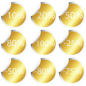 Golden stickers with procentual numbers — Stock Photo