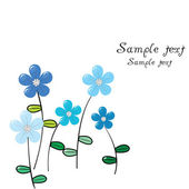 Greeting card with delicate blue flowers — Stock Photo