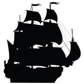 Black Brigantine Silhouette — Stock Photo