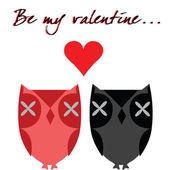 Valentine's card with owls — Stock Photo