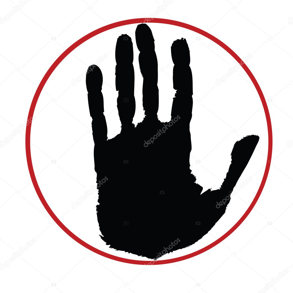 Grunge hand inside red circle, stop sign — Stock Photo #2837159