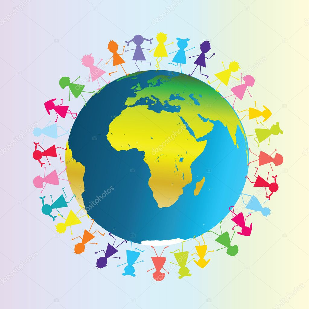 Children around planet Earth  Stock Photo #2837414