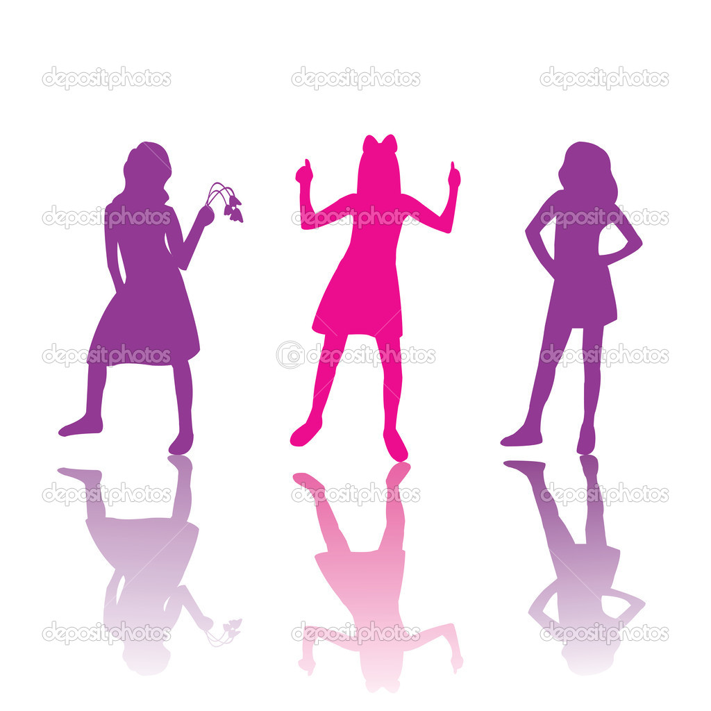 Cute girls silhouettes in pink and violet — Stock Photo #2837556