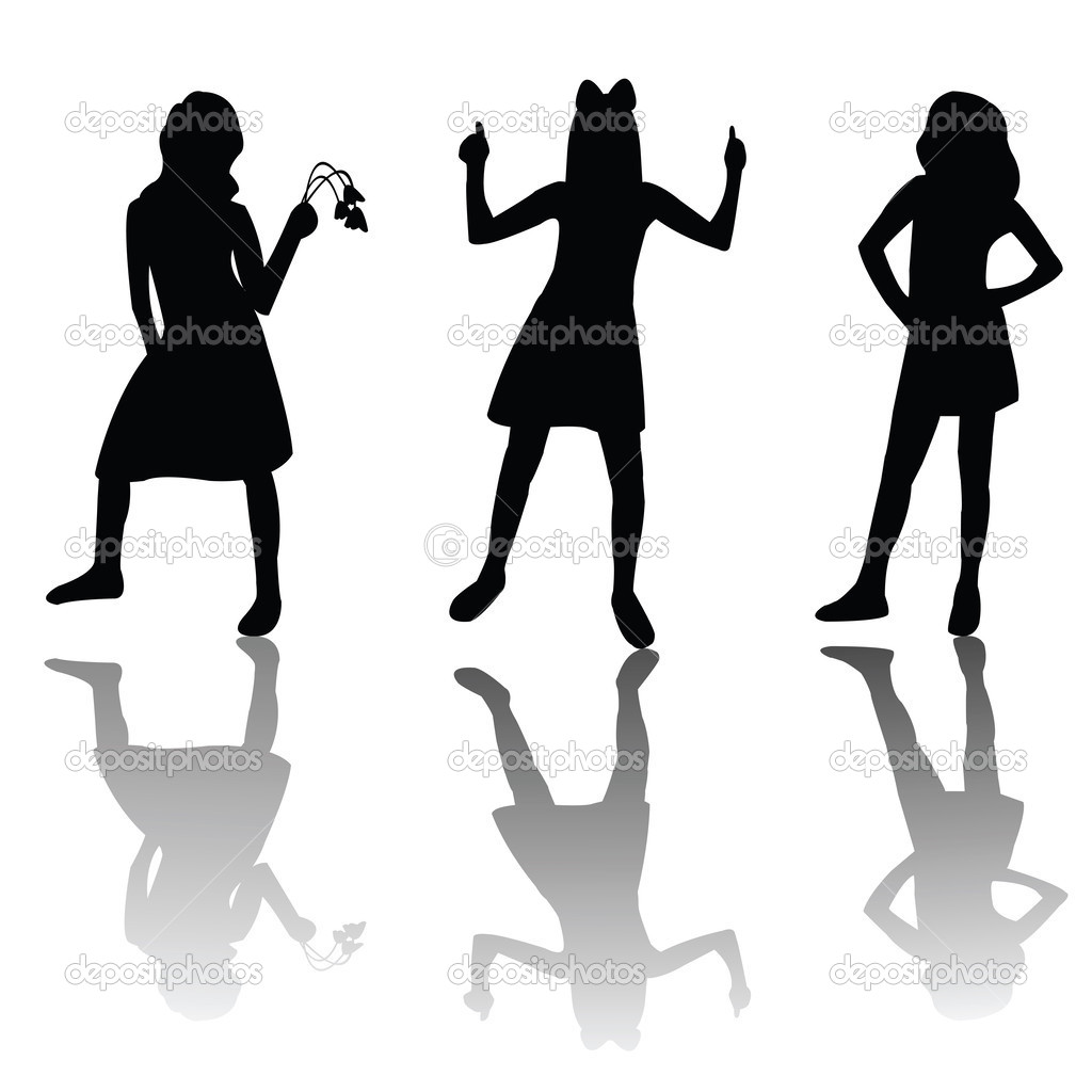 Cute girls silhouettes — Stock Photo #2837562
