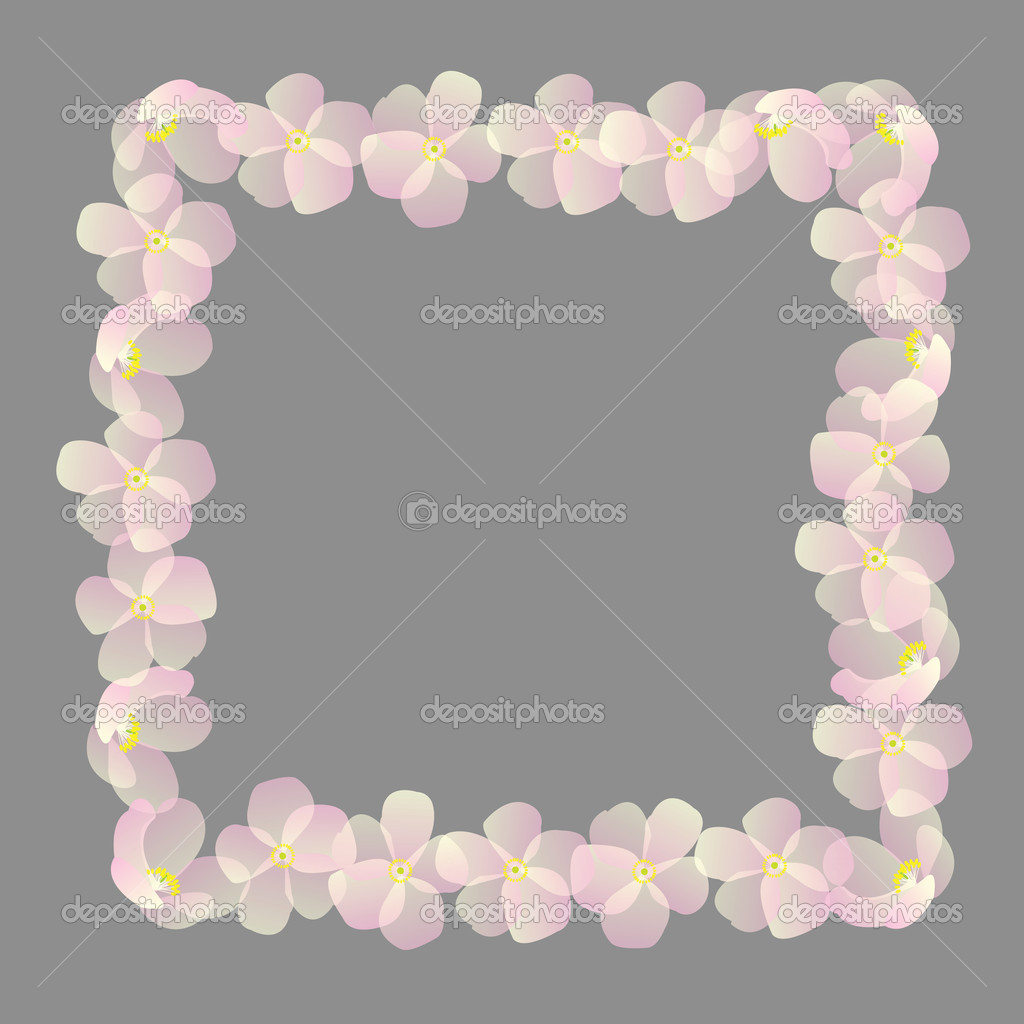 Frame with pink cherry flowers — Stock Photo #2837749