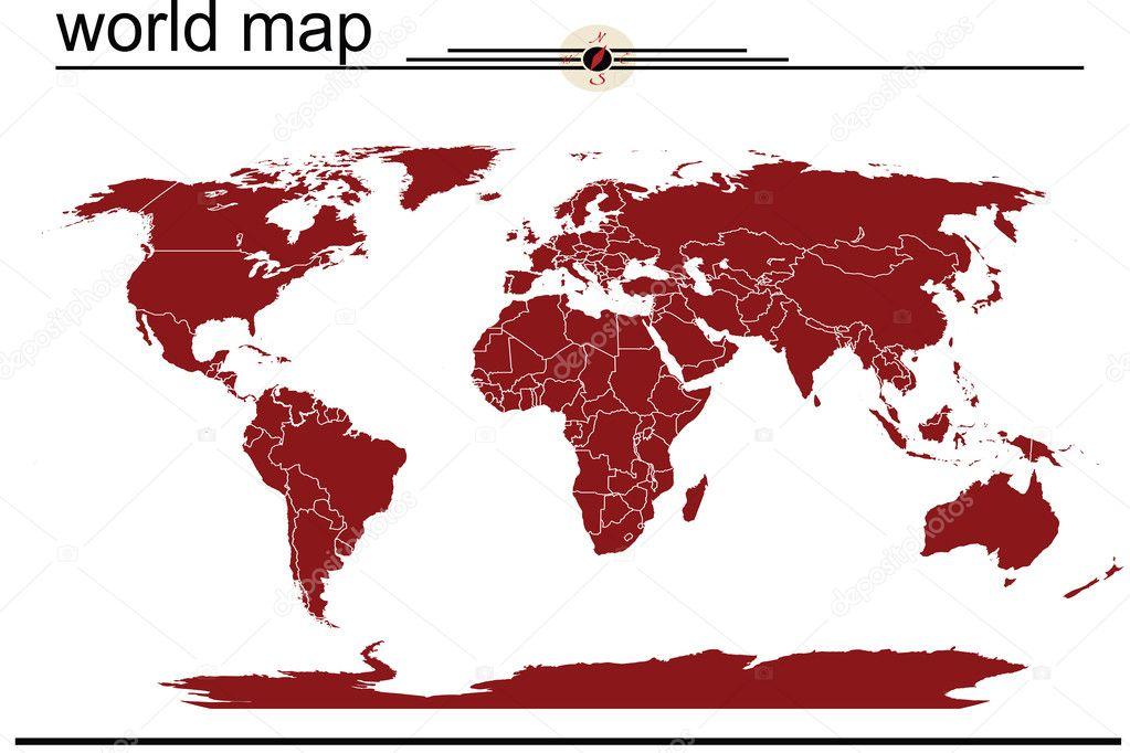 Red world map — Stock Photo #2838812