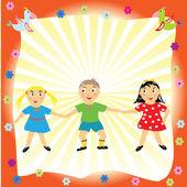 счастливые дети, взявшись за их руки — Стоковое фото
