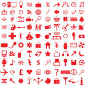 100 red icons — Stock Photo
