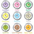 Colored clocks with timezone — Foto Stock