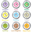 Colored clocks with timezone — Stockfoto