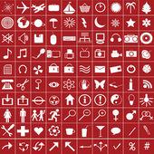 100 vit web ikoner på röd bakgrund — Stockfoto