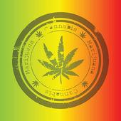 Marijuana stamp, rastafarian background — Stock Photo