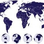 wereldkaart met aarde globes — Stockfoto #2932756