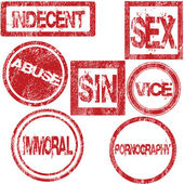 Red rubber stamps with sexual conotation — Stock Photo