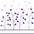 Love purple forest , hearts foliage — Stock Photo