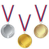 Medals set isoled over white background — Stock Photo