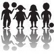 Stock Photo: Four children silhouettes with balls
