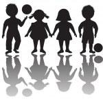 Four children silhouettes with balls — Stock Photo