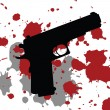 Background with gun and blood spots - Stock Photo