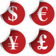 Labels with currency symbols - Stock Photo