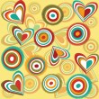 Retro pattern hearts and circles - Stock Photo