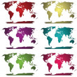 Collection of colored world maps - Stock Photo