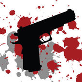 Background with gun and blood spots — Stock Photo