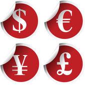 Etichette con simboli di valuta — Foto Stock