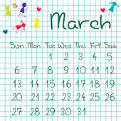 Calendar for March 2011 — Stock Photo