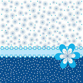 Blue background with flowers and dots — ストック写真