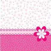 Pink background with flowers and dots — Stock Photo