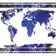 Stamp with blue world map — Stock Photo #3161824
