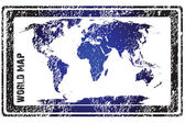 Stamp with blue world map — Stock Photo