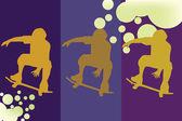 Skate jongen silhouet — Stockfoto