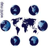 世界地图与地球地球仪 — 图库照片