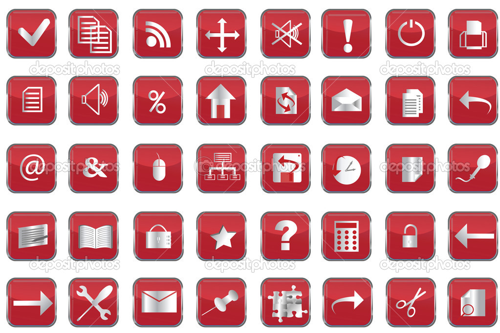 Collection of red web buttons  Stock Photo #3166581