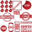 Set of red labels, tags, stamps and stickers — Stock Photo