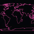 Stock Photo: Neon world map