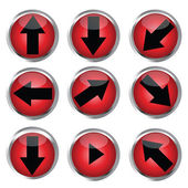 Red buttons for web design, black arrow icon set — Stock Photo