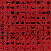 Black web icons over red background — Stock Photo