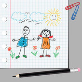 Doodle kids on math page — Stock Photo