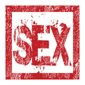 Rubber red stamp with sex — Stockfoto