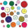 Stock Photo: Background with colored clocks