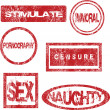 Foto Stock: Red stamps with sexual meaning