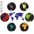 Stock Photo: Set of Earth globes and world map in all colors