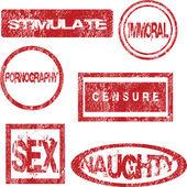 červená razítka s sexuální význam — Stock fotografie