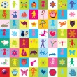 Pattern with toys and kids for kindergarten - Stock Photo