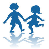 Blue children smiling silhouettes — Stock Photo