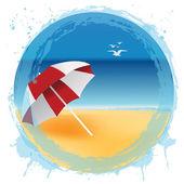Abstract aqua sphere with seaside representation — Stock fotografie