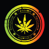 Grunge stamp with marijuana leaf — Foto Stock